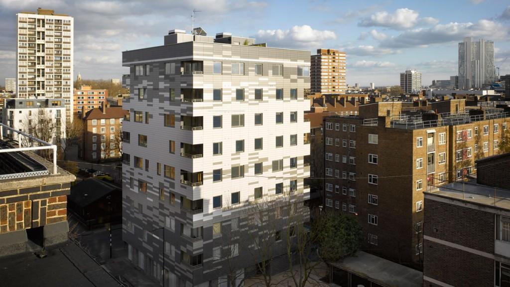Construido en 2008, el edificio Murray Groove, el primero íntegramente realizado con paneles de madera maciza prefabricada.