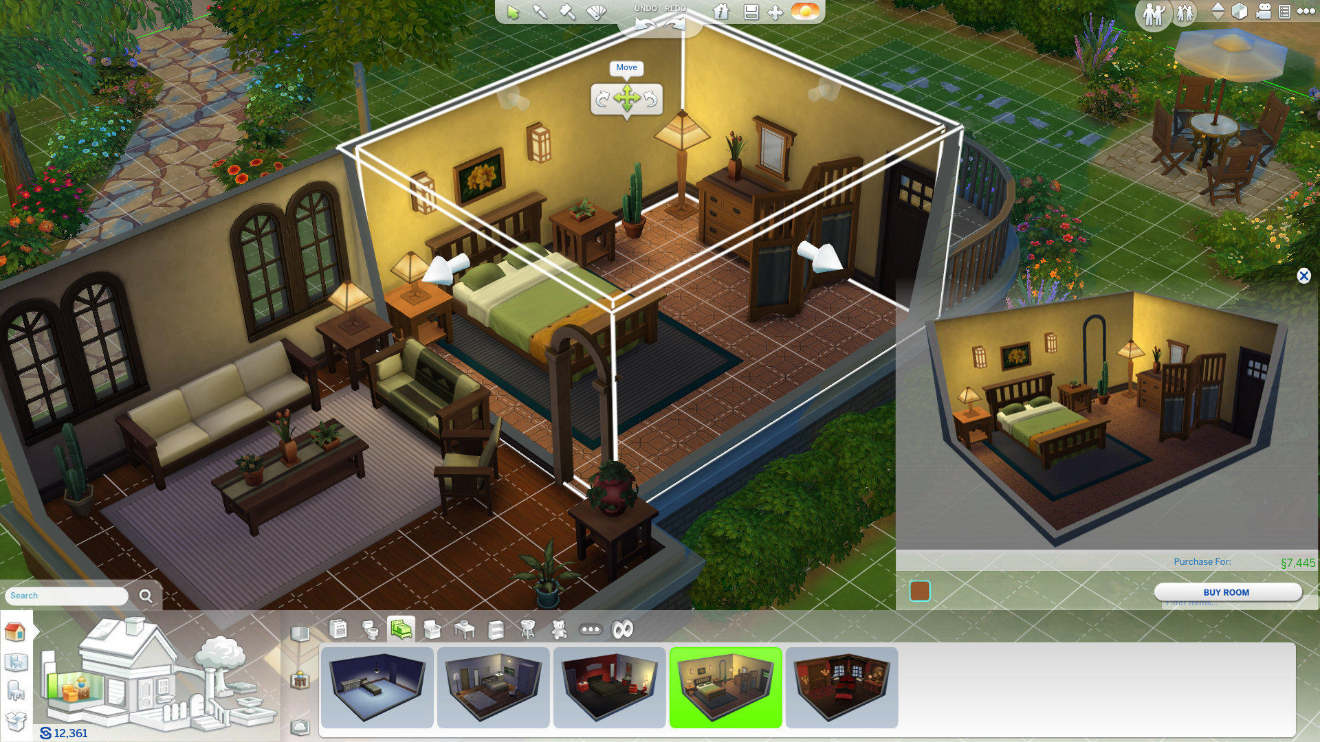 The Sims' building mode